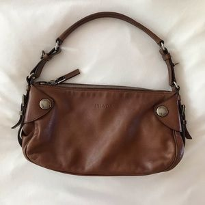 Prada Brown Leather Baguette